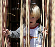 Young boy looking out from behind curtain. Child or young boy with blond or blonde hair and blue eyes looking out from behind curtain with a cheeky look on his stock photos