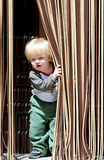 Young boy looking out from behind curtain. Child or young boy with blond or blonde hair and blue eyes looking out from behind curtain with a cheeky look on his royalty free stock photos