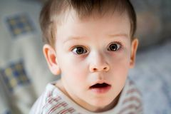Young boy looking surprised Royalty Free Stock Photos