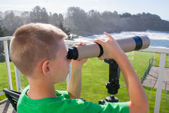 A young boy looking at the magnificent seals of the Pacific Ocean through a telescope. Royalty Free Stock Image