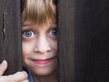 Young boy looking through wooden barrier Stock Photo