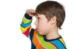 Young boy looks aside Royalty Free Stock Photos