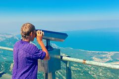 Young boy looks at mediterranean coastline of Antalya Province Royalty Free Stock Image