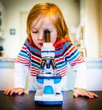 Young Boy Looks Through Microscope royalty free stock images