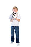 Young boy with loudspeaker Royalty Free Stock Image
