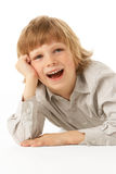 Young Boy Lying On Stomach Stock Photos