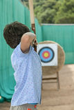 Young boy makes archery Royalty Free Stock Photo