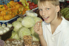 Young boy on market Stock Photos