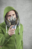 Young boy in the mask pointing Stock Image