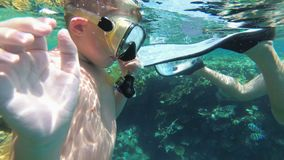 Young Boy with Mask and Tube First Time Snorkeling in Red Sea near Coral Reef. And Colorful Fish. Underwater view. Egypt. Child Swimming near tropical fish in stock footage
