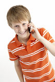 Young Boy With Mobile Phone stock photos