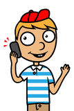 Young boy with mobile phone. Cartoon  illustration of a child boy talking on phone Royalty Free Stock Photos