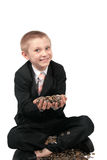 Young boy with money. Royalty Free Stock Image