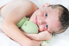 Young boy at naptime Royalty Free Stock Photos