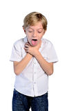 Young boy neck pain. On white Stock Images