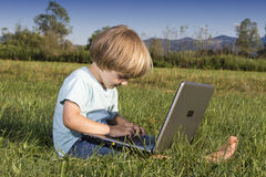 Young boy with notebook Stock Image