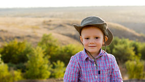 Young boy in open countryside Royalty Free Stock Photo