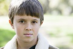 Young Boy Outdoors Stock Photo