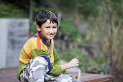 Young boy outdoors Royalty Free Stock Images