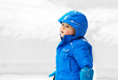 Young Boy Outside in the Snow Royalty Free Stock Photo