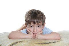 Young boy over white Stock Image