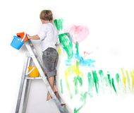 Young boy painting Royalty Free Stock Images
