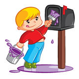 Young Boy Painting Mailbox Royalty Free Stock Photos