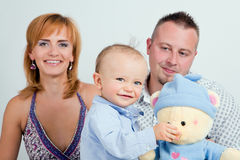 Young boy with parents royalty free stock photography