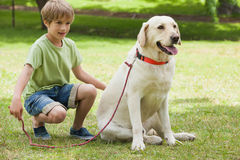 Young boy with pet dog at park Royalty Free Stock Image