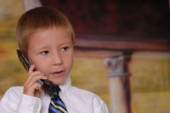 Young Boy on Phone 5 Royalty Free Stock Images
