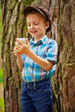 Young boy with phone Royalty Free Stock Photo