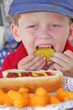 Young boy at picnic Royalty Free Stock Images