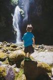 Young Boy at Pinard Falls in Oregon Royalty Free Stock Photos