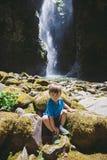 Young Boy at Pinard Falls in Oregon Stock Image