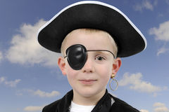 Young boy in pirate costume,  on white Royalty Free Stock Photos