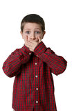 Young boy in plaid shirt with hands over mouth royalty free stock photography