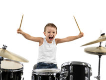 Young boy play drum with energy Royalty Free Stock Image