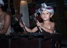 Young boy play gamelan Bali Stock Image