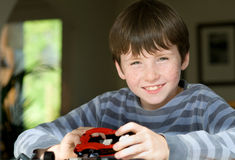 Young boy playing. With construction game Royalty Free Stock Photography