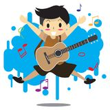 Young boy playing acoustic guitar Happy Love music abstract. Young boy playing acoustic guitar abstract Background character design illustration vector in Stock Illustration