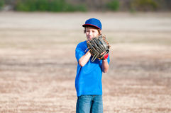 Young boy playing backyard baseball Stock Image