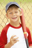 Young Boy Playing Baseball. Smiling To Camera Stock Images