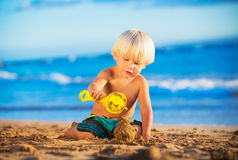 Young boy playing at the beach Royalty Free Stock Image