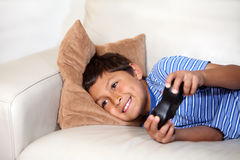 Young boy playing computer game Royalty Free Stock Photo