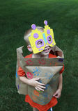 Young boy playing dress up as a robot.  Royalty Free Stock Photos