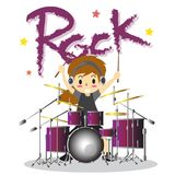Young boy playing Drum set  Happy Love music color Rock  Royalty Free Stock Images