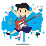Young boy playing electric rock guitar Happy Love music  Stock Photography