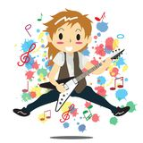 Young boy playing electric rock guitar Happy Love music  Royalty Free Stock Image