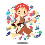 Young boy playing electric rock guitar Happy Love music  Royalty Free Stock Photography