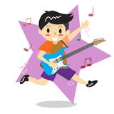Young boy playing electric rock guitar Happy Love music  Stock Photo